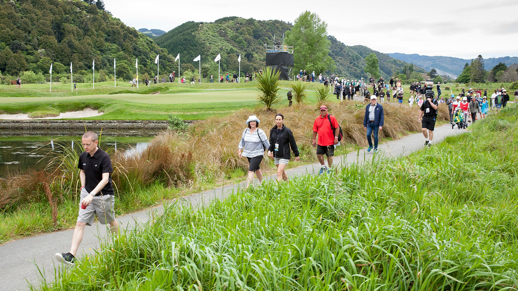 Fans moving from the 4th green to the next tee on the  final day of the Asia-Pacific Amateur Championship tournament 2017 held at Royal Wellington Golf Club, in Heretaunga, Upper Hutt, New Zealand from 26 - 29 October 2017. Copyright John Mathews 2017.   www.megasportmedia.co.nz