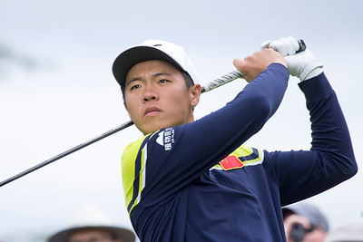 Andy Zhang from China teeing off the 1st on the final day of the Asia-Pacific Amateur Championship tournament 2017 held at Royal Wellington Golf Club, in Heretaunga, Upper Hutt, New Zealand from 26 - 29 October 2017. Copyright John Mathews 2017.   www.megasportmedia.co.nz