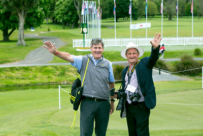 Wayne Eagleson and Simon Wolf on the course on the final day of the Asia-Pacific Amateur Championship tournament 2017 held at Royal Wellington Golf Club, in Heretaunga, Upper Hutt, New Zealand from 26 - 29 October 2017. Copyright John Mathews 2017.   www.megasportmedia.co.nz
