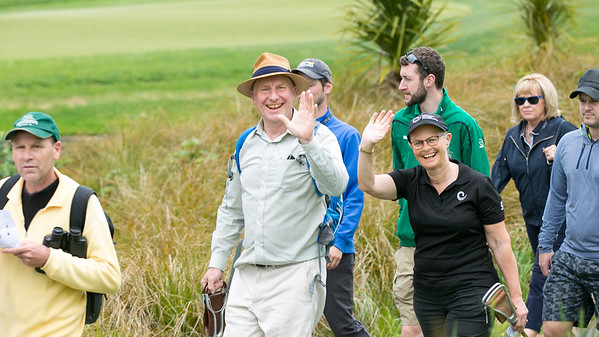 Chris & Catherine Milne moving from the 4th green to the next tee on the  final day of the Asia-Pacific Amateur Championship tournament 2017 held at Royal Wellington Golf Club, in Heretaunga, Upper Hutt, New Zealand from 26 - 29 October 2017. Copyright John Mathews 2017.   www.megasportmedia.co.nz
