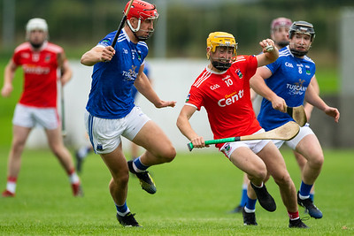 Gortnahoe Glengoole's Fionn Cleary in challenged by Ballina's Stephen O'Brien and Paddy Donovan during the 'FBD Insurance' Seamus O'Riain Cup round 1 in Borrisoleigh.