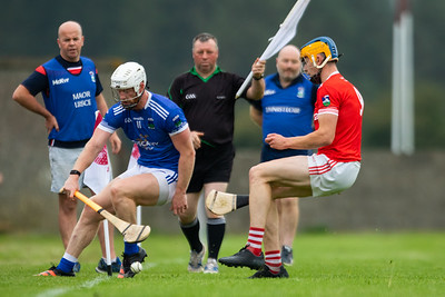 Ballina's Makey Breen and Gortnahoe Glengoole's Karl Campion during the 'FBD Insurance' Seamus O'Riain Cup round 1 in Borrisoleigh.