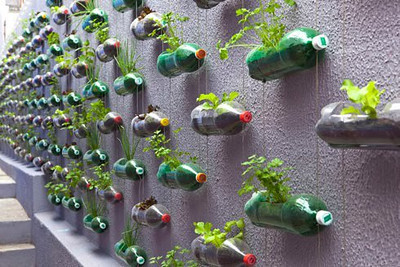 From - http://agricultoresdesofa.blogspot.com  You can also take a rod/stick/piece of bamboo & hang the bottles from that so it can hang from a ceiling/roof!  .