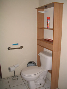 "CATEGORY 2    This is the Private Bathroom for #5 - Seclusion.    This is our only full bathroom that is pretty accessible for people with mobility issues.  You can pretty easily maneuver a wheelchair in this spacious bathroom and into the large (big enough for 2+) walkin shower with a 5"" lip and where you will find a bar to assist you as well as one next to the toilet.  The sink has a skirt around it so it is easy to maneuver a wheelchair under it!"