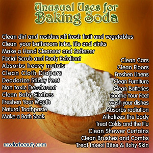 BAKING SODA • Sodium bicarbonate  Baking Soda As A Natural Burn Remedy - Don't have aloe vera or another burn remedy on hand? Try baking soda, one of the best natural remedies for burns you will find. http://amzn.to/RiFYfA Directions: 1. Make a paste with baking soda and water. Be sure the past is wet but thick enough to stay on where you are applying it. 2. Apply the baking soda paste all over the burn. 3. To keep the baking soda moist, put a plastic bag over the baking soda area. 4. Place a sock over the plastic bag if the burn is on a hand or foot, otherwise find a body-safe tape to affix the plastic bag over the baking soda mixture. 5. You should notice the pain almost completely disappearing from the burn within just a few minutes. Baking soda truly works wonders for burns!   BAKING SODA - NIGHTMARE TO THE PHARMACEUTICAL INDUSTRY!! http://WorthyToKnow.com/baking-soda-nightmare-pharmaceutical-industry   Baking Soda – The Nightmare of the Pharmaceutical Industry March 30, 2014 | Wellness Baking-Soda---The-Nightmare-of-the-Pharmaceutical-Industry  According to the result of research findings, cancer is a lactic acid, which is formed when a certain kind of fungus or moldlives in an environment devoid of oxygen. It was also discovered that by passing a very high concentration of oxygen molecules through cancer cells, it could destroy them completely.  It is really very difficult for anyone to wrap their head around the idea that a substance as common as sodium bicarbonate (baking soda) can offer much more benefits than most of the pharmaceutical drugs that cost so much. There is however fascinating evidence that proves that sodium bicarbonate can indeed cure a lot of serious diseases, such as cancer and diabetes. Medical practitioners have also been advised to use it since it offers amazing benefits.  Sodium bicarbonate, it must be noted, is a very widely researched substance, which has been used for several years even by oncologists. The toxicity of chemotherapy an