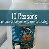 "10 Reasons To Use Vinegar in Your Laundry<br /> Do you use vinegar in your home for many household uses? Well, you really should! There are hundreds, if not thousands of benefits to using vinegar either indoors or outdoors.  I know it has an icky smell, but for some reason, this icky smelling natural liquid is a wonder worker. It not only cleans, but it kills bad bacteria too. We have shared many homemade cleaning product recipes on our site, some of which use vinegar.<br /> <br /> Well, today I want to talk about one of my favorite places to use vinegar….. in the laundry room!<br /> <br /> Have you ever thought about using white vinegar in your laundry?  The first time I had was several years ago and I haven't looked back since! Vinegar is just a part of our laundry routine.<br /> <br /> Let me first answer the obvious question…. won't your laundry smell like stinky feet? Well….. that's the weird part about it…. No. It actually leaves no ""stinky feet"" odor, but actually eliminates odors. So no need to worry about stinky laundry…. but in fact, quite the opposite!<br /> <br /> So now let's count the ways that vinegar and your laundry go together like peanut butter and jelly:<br /> <br /> 1. Fluff up your fabrics and towels. They will start to become fluffy and soft again! We notice this difference in our towels the most, but we also see it in all of the fabrics washed! <br /> <br /> 2. Reduce odors! Not only does the vinegar ""fluff"" the towels, it actually takes smells out too! The stinky towels, sports clothes, boys clothes, all of it! Get rid of those odors naturally and gently!<br /> <br /> 3. Kills bacteria on your clothing, towels, bedding, etc.<br /> <br /> 4. Use as as an alternative to Fabric Softener (we show 4 ways in our previous post HERE).<br /> <br /> 5. Reduce static. Vinegar will not only soften clothes, but reduces some of the static as well.<br /> <br /> 6. Greater clothing life! Your clothes and towels will last longer as vinegar is more gentle than commercial fabric softeners and does not break down the threads as quickly.<br /> <br /> 7. Perfect for sensitive skin! Unlike commercial products which can irritate skin, using vinegar instead is much better for your skin!<br /> <br /> 8. Reduces allergies! Because it naturally kills without chemicals or scents, you will have less sneezing fits!<br /> <br /> 9. Prevent and reduce colors bleeding. It acts as a natural ""color catcher"" in which if you had to wash colors together, it will help in preventing the bleeding of colors onto other fabrics.  Now I know many,many that swear by this tip….. but I am so cheap that I haven't tested it and am a Laundry freak about not mixing colors as I don't want to ruin or replace.  I haven't even used the commercial Shout color catcher…. but I have testimonies from many that this is that same thing, but does it naturally and cheaply!<br /> <br /> 10. Cleaner Washing Machine. Finally, keep the odors and bacteria in your washer away.  This will occur naturally when you are using it for your laundry! Double duty!<br /> <br /> Recommended usage: 1/2 cup of vinegar in a full load and a 1/4 cup in a smaller load. You just pour it in at the beginning in the fabric softener slot or during your rinse cycle when you would normally put in your liquid fabric softener.  We have found this to be immensely beneficial to our laundry and to our budget! And it is a natural alternative!<br /> <br /> Disclaimer: As with all homemade solutions, remember to always test a small hidden area first.<br /> ."