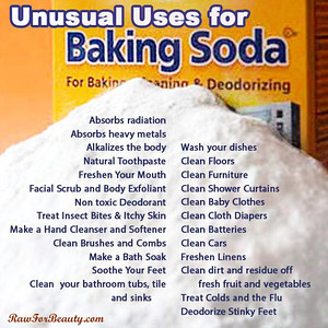 """BAKING SODA HINTS  112 USES FOR BAKING SODA - WWII Series SOURCE:  http://flusterbuster.com/2013/04/baking-soda-112-uses-wwii-series.html  BATHROOM •   Drains – to keep them flowing freely and smelling fresh, clean them every other month. •   Drains – to unclog, remove as much of the standing water as possible. Pour 1 cup baking soda into the drain then pour 1 cup hot vinegar. Allow it to do its magic for 10-15 minutes and then run the hot water for a few minutes. •   Shower Curtains – to clean and remove mildew, soak them in 1 gallon warm water and 1 cup baking soda. Allow them to soak overnight, rinse and hang to dry. •   Sinks, tubs and showers – to scrub, mix ¼ cup baking soda with 1 tablespoon liquid dish soap. Use as you would any scouring powder. •   Toilet – to clean and absorb odors, add a cup of baking soda to the bowl and let it sit for an hour. Clean with a toilet brush and flush. •   Toothbrushes – to clean, soak overnight in a mixture of ¼ cup water and ¼ cup baking soda. Rinse.   BEAUTY (also see """"HEALTH"""") •  Face Scrub – for a soft, smooth face, make a paste using 1 part baking soda, 2 parts ground oatmeal and water. Gently rub you face with the paste, leave on for a few minutes and then rinse. •  Hair – to keep hair healthy, add 1 teaspoon of baking to every 6 ounces of conditioner. •  Hair – to remove chemical build up and soften, mix 1 teaspoon baking soda to 6 ounces shampoo •  Skin – to exfoliate, make a paste using 3 parts baking soda and on part water. Gently apply with your fingers using a circular motion, rinse •   Skin – to soften, add 1 cup of baking soda to your bathwater.   BUGS (also see """"GARDEN"""" • """"OUTDOORS""""): •   Ants – to rid your home, sprinkle baking soda along their paths. •   Cock Roaches – to rid your home, sprinkle around windows and under sinks.   CAR: •   Battery – to keep it from corroding, every couple of months wipe the terminals with a paste made of baking soda and water. Remove with a clean, dry rag. •   Interior– to fre"""