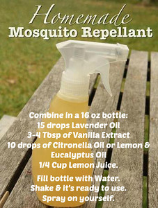 Combine in a 16 oz bottle: 15 drops lavender oil [http://amzn.to/WOhOP8] 3-4 Tbsp of vanilla extract 10 drops of citronella oil [http://amzn.to/ZOLfyc] 1/4 Cup lemon juice. Fill bottle with water. Shake & it's ready to use. Spray on yourself.  (You can also use 10 drops of lemon eucalyptus oil instead of citronella oil [http://amzn.to/ZfYPbx])  Make some extra to gift to your neighbors, family & friends. Share this on your wall so you'll have it handy when it's needed.  Note: If you don't already have the oils mentioned above, the links provided are available for you to order them online.