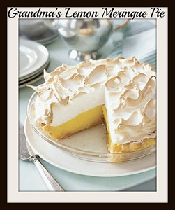 **Grandma's Lemon Meringue Pie***~~  INGREDIENTS: 1 cup white sugar 2 tablespoons all-purpose flour 3 tablespoons cornstarch 1/4 teaspoon salt 1 1/2 cups water 2 lemons, juiced and zested 2 tablespoons butter 4 egg yolks, beaten 1 (9 inch) pie crust, baked 4 egg whites 6 tablespoons white sugar  DIRECTIONS: Preheat oven to 350 degrees F (175 degrees C).  To Make Lemon Filling: In a medium saucepan, whisk together 1 cup sugar, flour, cornstarch, and salt. Stir in water, lemon juice and lemon zest. Cook over medium-high heat, stirring frequently, until mixture comes to a boil. Stir in butter. Place egg yolks in a small bowl and gradually whisk in 1/2 cup of hot sugar mixture. Whisk egg yolk mixture back into remaining sugar mixture. Bring to a boil and continue to cook while stirring constantly until thick. Remove from heat. Pour filling into baked pastry shell.  To Make Meringue: In a large glass or metal bowl, whip egg whites until foamy. Add sugar gradually, and continue to whip until stiff peaks form. Spread meringue over pie, sealing the edges at the crust. Bake in preheated oven for 10 minutes, or until meringue is golden brown. .