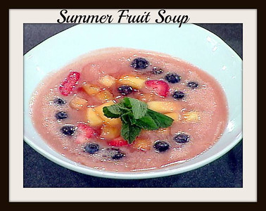 ***Summer Fruit Soup***~~  Ingredients 1 tablespoon minced ginger 3 cups chopped strawberries 2 cups chopped pineapple 1 1/2 cups chopped mango 2 pieces lemon peel 2 pieces lime peel 2 pieces orange peel 4 cups water 1 1/2 cups sugar 1/4 cup fresh orange juice 2 tablespoons fresh lemon juice 2 tablespoons fresh lime juice 1 cup blueberries Mint sprigs, for garnish  Directions: Saute the ginger in a medium pot over medium-high heat until fragrant, about 2 minutes (no oil is necessary.) Add 2 cups strawberries, 1 cup pineapple, 3/4 cup mango and the lemon, lime and orange peels; cook for another 2 minutes. Add water, sugar and fruit juices and bring to a simmer, stirring occasionally. Simmer for 5 minutes and remove from the heat.  Allow mixture to cool slightly and then transfer in batches to a blender or food processor. Puree and strain into a large bowl. Add remaining 1 cup strawberries, 1 cup pineapple, 3/4 cup mango and blueberries. Stir to combine, cover and refrigerate until well chilled. Serve with mint sprigs for garnish