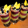 Dinner Parfait TO LIVE FOR!<br /> Jackfruit's in season, blended with guanabana, mango, mora berries, vanilla, coconut oil, for a smooth, fruity, parfait garnished with almonds, mango, mora berries. Yummy end to a hot tropical day at Jewel of the Sun (from Eric Rivkin)