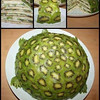 "Fruity Turtle Cake<br /> from:Live Love Fruit<br /> RECIPE:<br /> Peeled, and thinly sliced kiwis (as many as it takes to cover shell)<br /> Bananas, thinly sliced, lengthwise<br /> Coconut flesh (1/2 cup)<br /> Coconut water (1/4 cup)<br /> Dates, pitted (1/2 cup)<br /> <br /> 1. Put coconut flesh, coconut water, and dates into a blender, and blend on high until you get an ""icing"" like consistency (not too liquidy, if it is too thin, add more dates)<br /> <br /> 2. Start with layered bananas on the bottom, followed by some coconut date ""icing"", followed by thinly sliced kiwi rounds, and then some more ""icing"", and then more banana slices. Continue this pattern, moving slowly into the center until you get a 1/2 circle shape on your plate.<br /> <br /> 3. Next, layer the 1/2 circle with thinly sliced kiwi rounds to make the green colour of the turtle shell.<br /> <br /> 4. Make the head, feet, and tail, simply by carving out individual kiwis to get the shapes as pictured in the picture below."