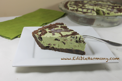 Dairy-free, grain-free Chocolate Mint Ice Cream Pie  Ingredients For The Crust: 2 ½ cups of almond flour 1/2 cup of unsweetened cacao powder ¼ cup of coconut oil ¼ cup of coconut flour ¼ cup of honey 1 egg ½ tsp of baking soda  Ingredients For The Ice Cream: 28 ounces of full fat canned or homemade coconut milk 1 cup of loosely packed fresh mint leaves ½ cup of mashed avocado 1 cup of Enjoy life chocolate chips or homemade chocolate chips Sweetener to taste (I used ¼ cup of raw honey and 20 drops of liquid stevia  Get the full recipe from Edible Harmony ---> http://www.edibleharmony.com/chocolate-min-ice-cream-pie