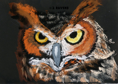 Great Horned Owl pastel  SOLD