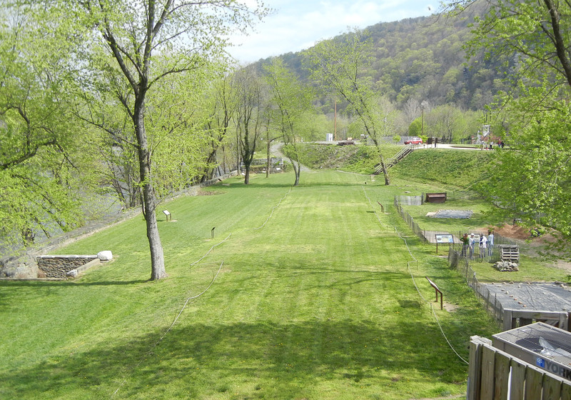 This is the actual site of the Harpers Ferry factory buildings.  An archeologist blueprint is all that remains of the actual factory.  The shops and town of Harpers Ferry are to the left of this picture.