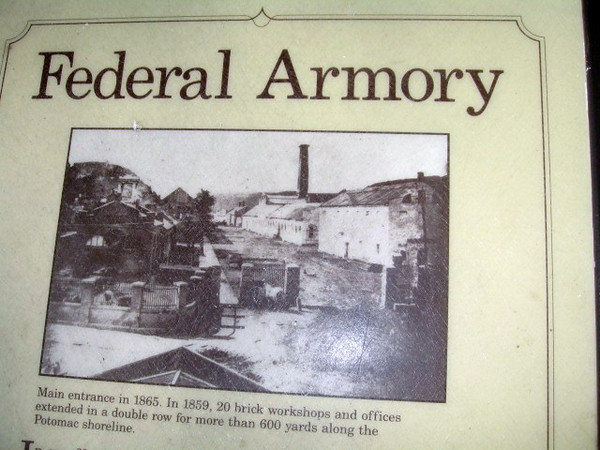 The United States Federal Armory was originally established by General and President George Washington to ready the colonial troops to battle the imminent British invasion.  As the above marker mentions, there were 20 brick workshops and offices extending in a double row for more than 600 yards along the Potomac River shore.