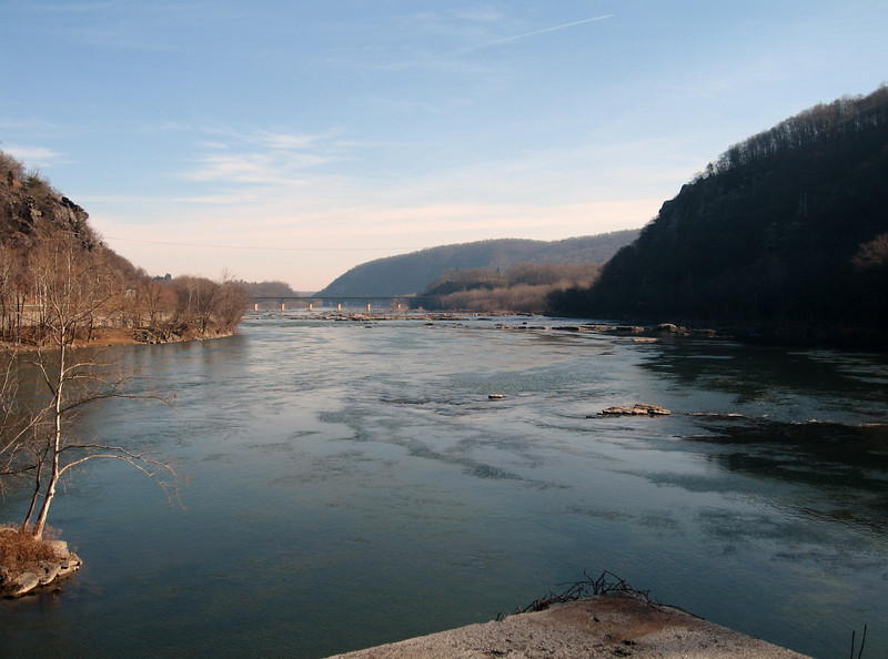Potomac River at Harpers Ferry.  The mountain ranges and rocky landscape of this area indicates that the river and geography has changed very little over the last 200 years.