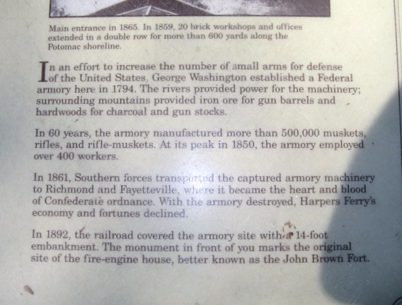 A sign describing the origin of the Harpers Ferry armory.