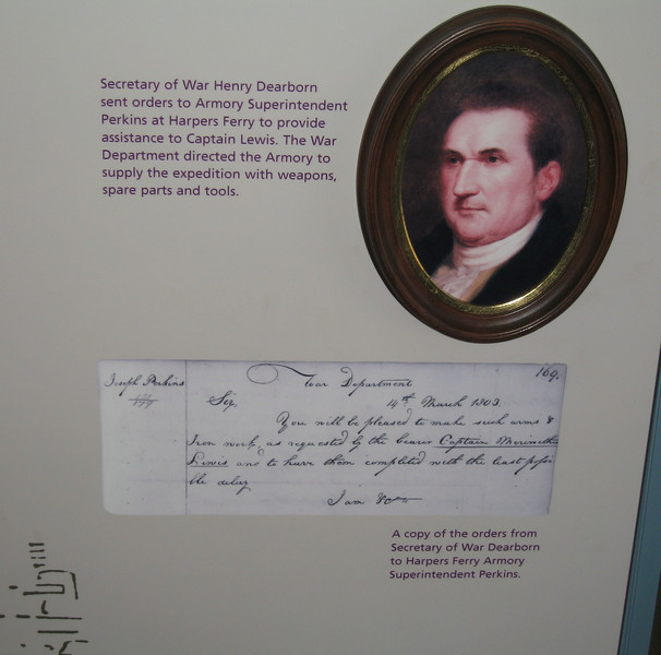 A copy of the Purchase agreement from Secretary of War, Henry Dearborn, authorizing Meriwether Lewis to purchase military weapons, ammunition, spare parts and tools from Harpers Ferry.