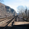 Present day Harpers Ferry railroad bridge.  By the mid-1800's this rail was used to transport materials, rifles, and tools from Harpers Ferry.  Much of the Civil War weapons were built at Harpers Ferry.