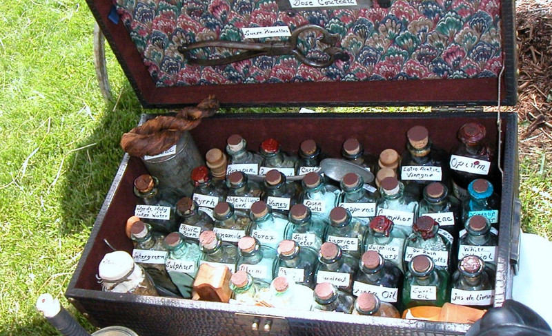 Typical medicine chest of the Expedition era and probably similar to the one taken by Lewis and Clark.  Lewis assuredly received most of his herbal knowledge from his mother who was known to have a excellent knowledge of medical use of herbs.  The captains also brought along several books that they had reference to for appropriate remedies.  On several occasions the Captains had troops out looking for specific herbal plants to be used in medical care for themselves or sick Indians.
