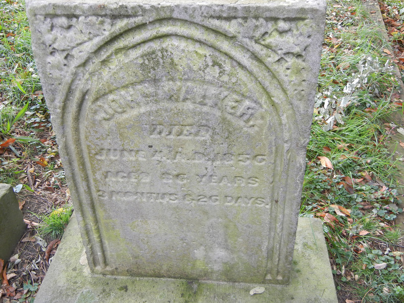 Grave marker of John Walker, one of the original family members of the Elizabeth founders.