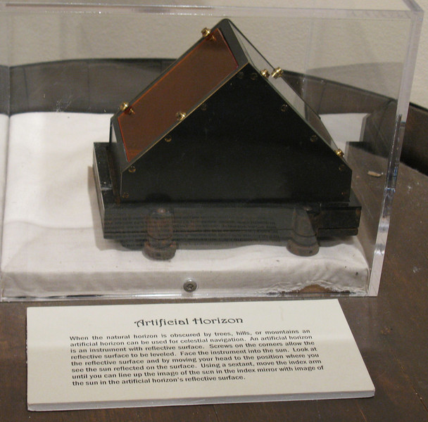 To navigate by use of the stars the Captains have to be able to see the horizon.  In mountainous country,  fog, rolling terrain and thick forest of trees made determining the horizon difficult for Clark. This artificial horizon was used to help Clark determine the horizon.