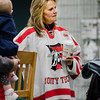 Carolyn Lemieur, the mother of Brad Cutting, wears a Fitchburg High/Monty Tech jersey with his number during thee2nd Annual Brad Cutting Memorial Ice Hockey Game at the Wallace Civic Center in Fitchburg on Saturday, March 25, 2017.  Cutting was just 20-years-old when he died in a two-car accident on November 27, 2015. SENTINEL & ENTERPRISE / Ashley Green
