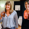 Paula Stefanakos and Niicole Browell enjoy beer from Wachusett Brewery during Oktoburgfest at the Fitchburg Senior Center on Saturday afternoon. SENTINEL & ENTERPRISE / Ashley Green