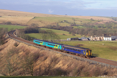 153360 brings up the rear of 2H10 0849 Leeds-Carlisle headed by 156444 at Smardale on 18/02/2006.