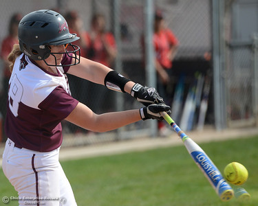 Karli Skowrup's impact with the ball vibrates the bat as Chico State plays Friday, March 10, 2017, against Cal State Stanislaus in Chico, California. (Dan Reidel -- Enterprise-Record)