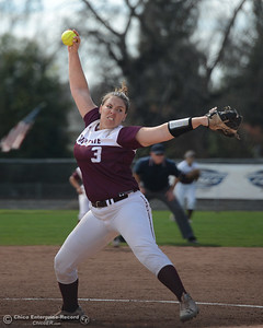 Pitcher Haley Gilham (3) winds up and delivers as Chico State plays Friday, March 10, 2017, against Cal State Stanislaus in Chico, California. (Dan Reidel -- Enterprise-Record)