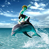 Dolphin Surfing (mixed media) Digital Print