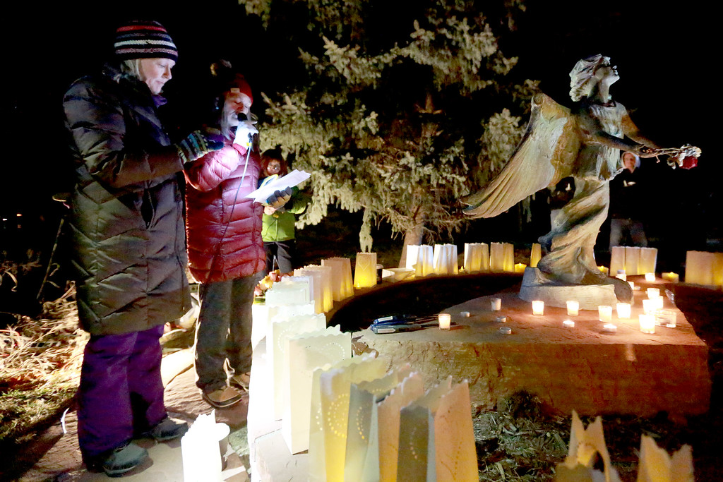 . 3 Hopeful Hearts Director of Outreach Kristin Glenn and Executive Director Betsy Fecteau host the Angel Event vigil at the McKee Angel Statue on Dec. 9, 2018 in Loveland, Colo. for the remembrance of children who have passed away. Photo by Taelyn Livingston/ Loveland Reporter-Herald