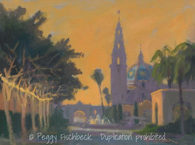 Balboa Park, Twilight, 9x12, oil on panel - #J0768