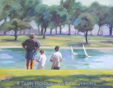 """Young Sailors - The Boys and Their Boats (Mission Bay) 11x14  oil on canvas Included in """"Land of Sunlight, Contemporary Paintings of San Diego County"""" by James Lightener"""