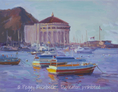 Avalon Harbor, Catalina,  11x14, oil - available at Scout at Quarters D
