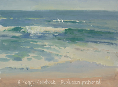 Del Mar Beach, plein air, oil  NFS