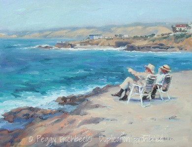 "La Jolla Cove, Enjoying the View11x14 oil on canvas SOLD Included in ""Land of Sunlight, Contemporary Paintings of San Diego County"" by James Lightener"
