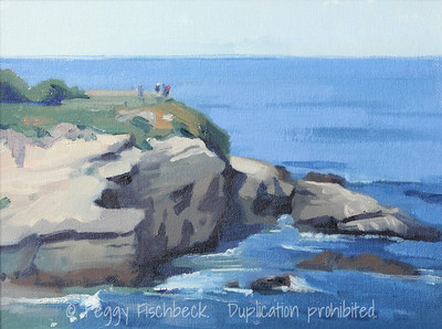 La Jolla Cove, from Goldfish Point, 9x12, plein air, oil panel - available at SCOUT Quarters D