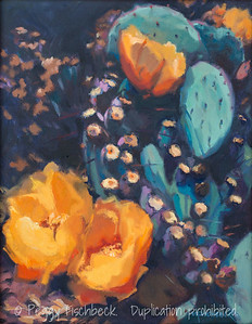 Cactus Blossoms, 11x14, oil on canvas F0504