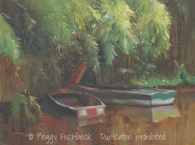 Boats, Monet's Pond, 12x16, oil on canvas