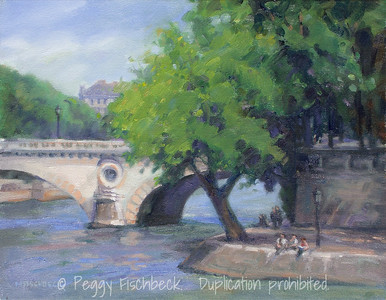 Along the Seine, Paris 11x14 oil on canvas
