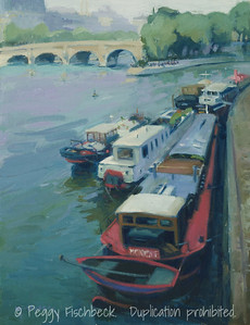Barges on the Seine, 11x14, oil on canvas