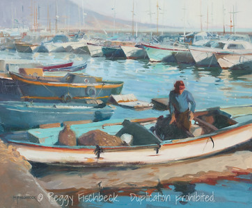 Italian (Neapolitan) Harbor, 20x24, oil on canvas  F0558 -available at SCOUT Quarters D