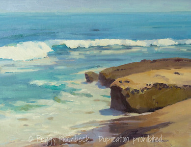La Jolla- Waves at Low Tide, 14x18, oil panel - available at SCOUT Quarters D