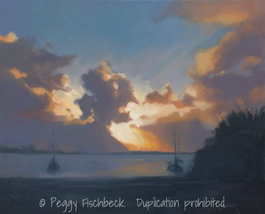 Sunrise, San Diego Bay, 16x20, oil on linen panel -  displayed at Therapy Specialists, 2751 Roosevelt Rd, Liberty Station  C0371