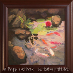 Garden Pond, 20x20, oil on canvas - displayed at Therapy Specialists, 2751 Roosevelt Rd, Liberty Station
