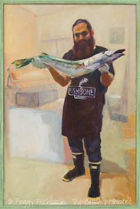 Fresh Catch, Barracuda, Fishbone 30x20, oil on canvas. H0709