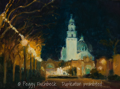 Balboa Park, California Tower, Nocturne, 9x12  oil on panel. SOLD  H0672